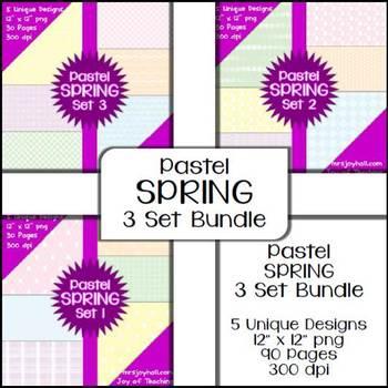 Spring Digital Papers - Pastels BUNDLE