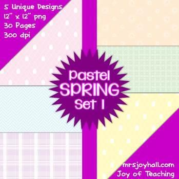Spring Digital Papers - Pastels Set 1