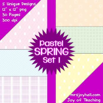 Spring Digital Papers - Pastels Set 1