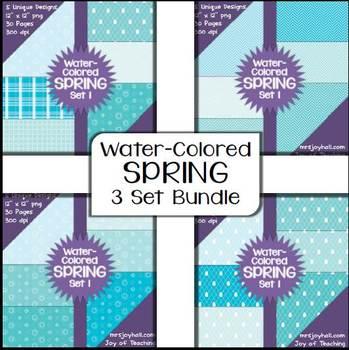 Spring Digital Papers - Water-Colored BUNDLE