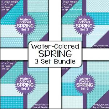 Spring Digital Papers - Water-Colored BUNDLE