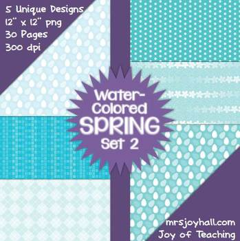 Spring Digital Papers - Water-Colored Set 2