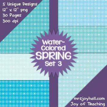 Spring Digital Papers - Water-Colored Set 3