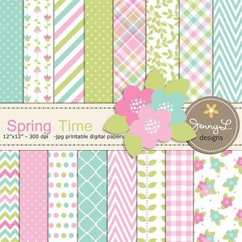 Spring Digital Paper and Flower Clipart