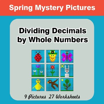Spring: Dividing Decimals by Whole Numbers - Math Mystery Pictures