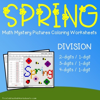 Spring Math Division, Spring Division Color by Number Mystery Picture Worksheets