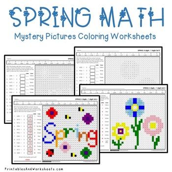 Math Division Spring Division Color By Number Mystery Picture