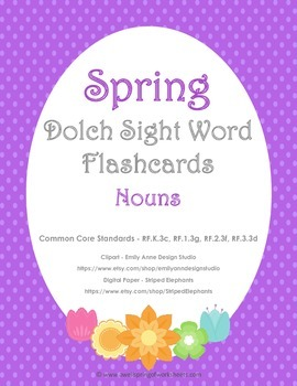 Spring Dolch Sight Word Flashcards - Nouns
