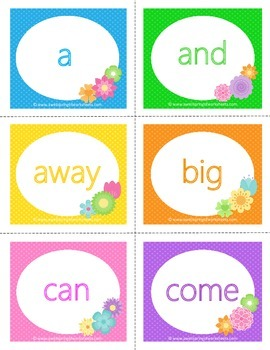 Spring Dolch Sight Word Flashcards - Pre-primer