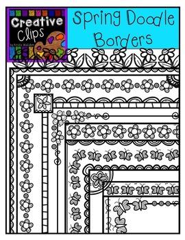Spring Doodle Borders {Creative Clips Digital Clipart}