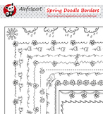 Spring Doodle Borders  Digital Clipart Instant Download Cr