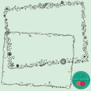 Spring Doodle Borders / Flowers Doodle Borders Frames Commercial Use