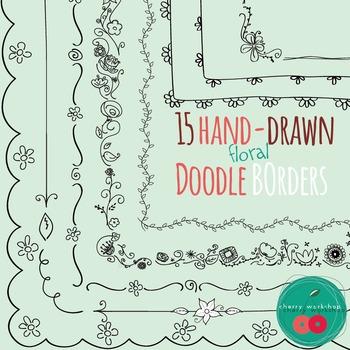 Spring Doodle Borders / Flowers Doodle Borders Frames Comm