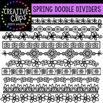 Spring Doodle Dividers {Creative Clips Digital Clipart}