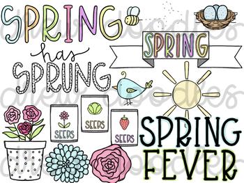 Spring Doodles Digital Clip Art Set