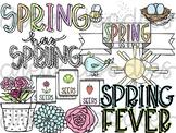 Spring Doodles Digital Clip Art Set- Color and Black Line COMBO