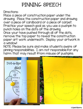 Spring Dot a Spot Speech Therapy Craft pinning tracing dotting
