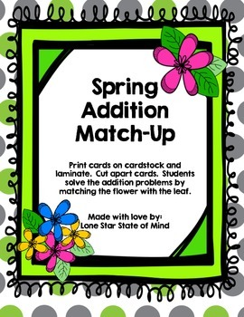 Spring Double Digit Addition Match
