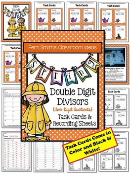 Spring Double Digit Divisors with Double Digit Quotients Division Task Cards