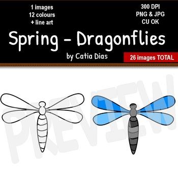 Spring - Dragonflies Clip Art
