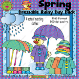 Spring Rainy Day Dressable Duck ClipArt