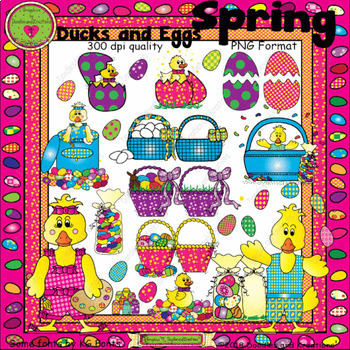 Spring Ducks and Eggs ClipArt