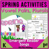 Spring Literacy Center Activities | Vowel Pairs | Plurals