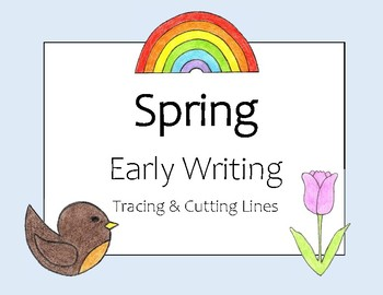 Spring - Early Writing - Tracing and Cutting Lines [Colour & BW]