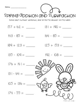 spring  easter addition and subtraction practice worksheets  tpt spring  easter addition and subtraction practice worksheets