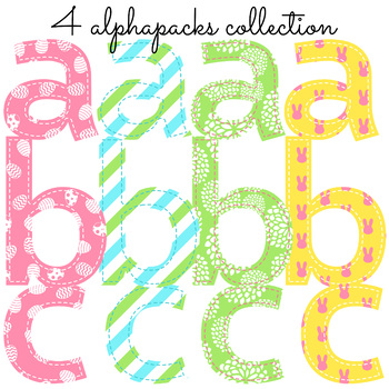 Spring Easter Alphabet, Faux Applique Font 4 Styles Included