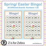 Spring / Easter Bingo - 30 Different Boards + Extras! { Z is for Zebra }