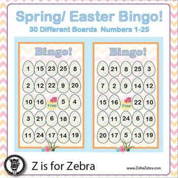 Spring / Easter Bingo - 30 Different Boards + Extras! { Z is for Zebra }