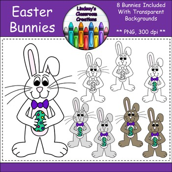 Spring Easter Bunny Clipart - 8 Bunnies Included {Commerci