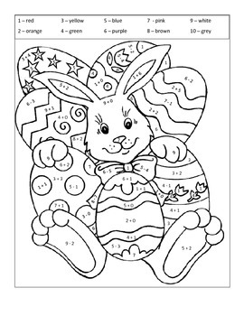 Spring Easter Bunny Coloring Addition & Subtraction