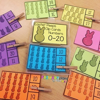 Spring Easter Bunny Peeps Clip Cards Numbers 0-20