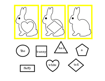 Spring Easter Bunny Rabbit Task Cards Sentence Cut Paste Match Shapes 3p