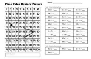 Spring / Easter Chick - Multiplication Math Mystery Picture - 11x17