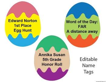 Spring Easter Classroom Theme - Bulletin borders, editable name tags, and signs