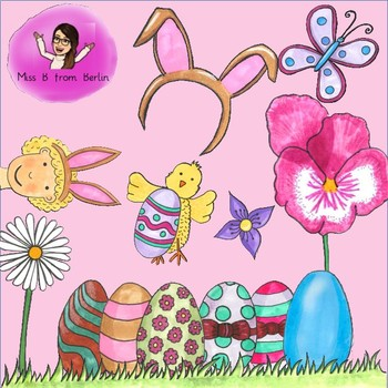 Spring easter. Clipart hand drawn pieces