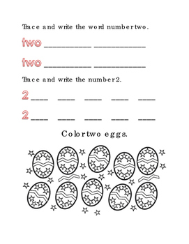 Spring Easter Color Number 2 Two Math Word Spelling English Vocabulary Printable