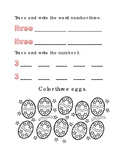 Spring Easter Color Number 3 Math Word Spelling English Vocabulary Printable