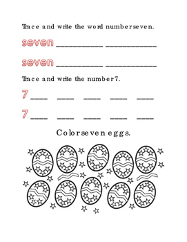 Spring Easter Color Number 7 Math Word Spelling English Vocabulary Printable