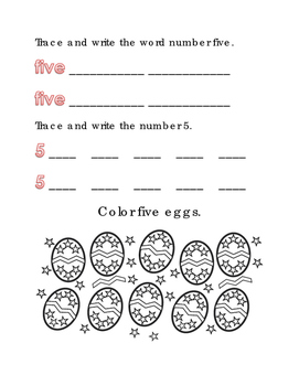 Spring Easter Color Number Five Math Word Spelling English Vocabulary Printable