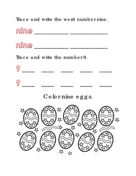 Spring Easter Color Number Nine Math Word Spelling English Vocabulary Printable