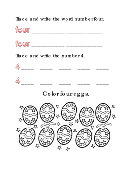 Spring Easter Color Number four Math Word Spelling English Vocabulary Printable