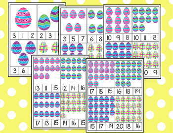 Spring Easter Counting Cards for Preschool Math Center