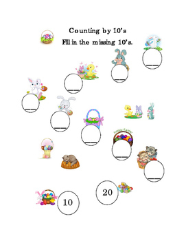 Spring Easter Counting by 10's Mental Math Numbers Up to 100 Worksheet Print 1pg
