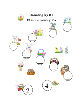 Spring Easter Counting by 2's Mental Math Numbers Up to 20 Printable 1page