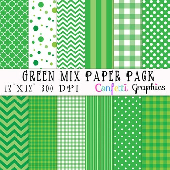 """Spring Easter Digital Paper Pack 12 Colorful Sheets Egg Daisy Chevron 12""""x12"""""""