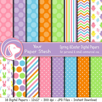 Spring & Easter Digital Scrapbook Papers With Bunny Rabbits and Chicks Polka Dot